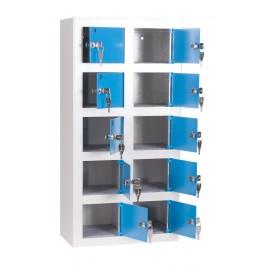 GSMlocker 10 vaks, lichtgrijs/blauw