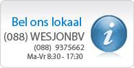 Klantenservice beschikbaar van maandag tot vrijdag 8:30 tot 17:30uur. Bel tegen lokaal tarief naar: 088-WESJONBV (088-9375662).